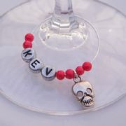 Skull Personalised Wine Glass Charm